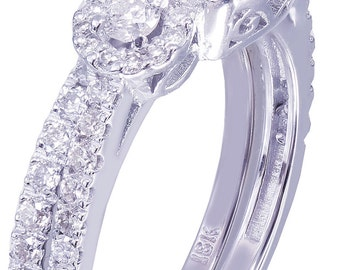 GIA H-SI1 18k White Gold Round Cut Diamond Engagement Ring And Band 2.10ct