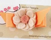 Marikit Designs Peach felt flower.  Alligator hairclip. Ready to ship. Flower girl
