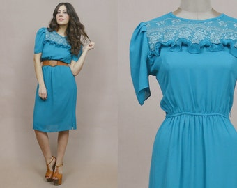 70s Secretary Dress Ruffle Embroidered Lace Yoke Puff Sleeves 1970s Dolly Turquoise Blue Midi Dress / Size M Medium