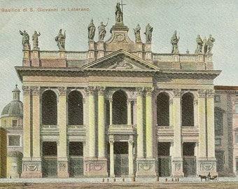 ROMA Basilica di S Giovanni  in Laterno Unused Antique UDB Postcard Beautiful Architecture of Historic Church