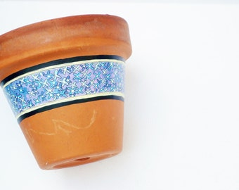 "Hand Painted Flower Pot ""Bloomed Collection"" Vintage Terracotta 5 Inch Planter- Ready to Ship"