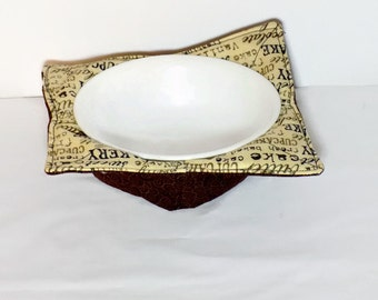 Reversible microwave bowl cozy, hot pad, microwave bowl pad fabric bowl holder, brown chocolate