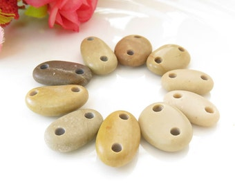 Beach Stones Connectors- Medium Organic Beads-Jewelry supplies Double Drilled Pebbles for Bracelets Art Crafts