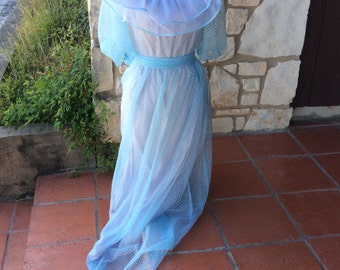 Vintage Cloud Blue Dotted Swiss Ruffled Prom Dress