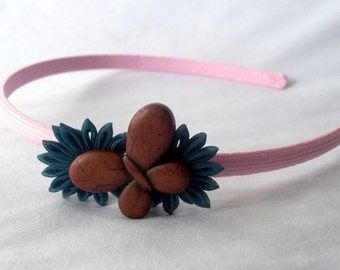 Unique Butterfly Headband with Kanzashi Flowers Pink Brown Teal