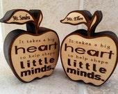 End of the year gift, personalized gift, best teacher award, custom teacher, teacher appreciation gift, wooden apple engraved