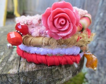 Fabric Ribbon Fiber Wrapped Bracelet Pinks and Reds Unique and Funky Memory Wire Fabric Bracelet Bo Ho Unique