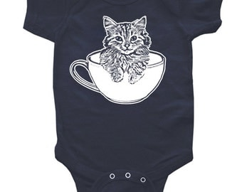 Tea Cup Kitty Onesie One Piece BodySuit or Toddler Tee  - ON SALE!