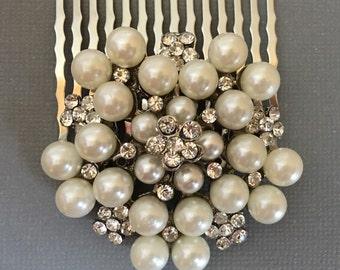 Rhinestone Hair Comb in silver tone metal stunning bridal wedding hair accessory head piece head band veil decorative combs