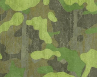 Green Camo Snuggle Flannel Fabric-By the Yard-Green Camouflage ready to ship