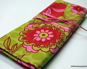Lime & Pink Floral Organizer Roll for Circular Knitting Needles // 8 Pockets