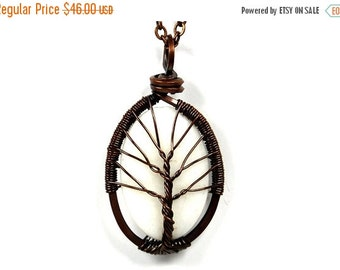 25% OFF Vacation Sale The White Jasper Stone Tree of Life Necklace in Antique Copper.