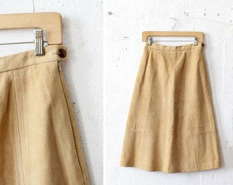 70s Suede Skirt S • Soft Brown Suede Midi Skirt • High Waist Skirt • Fit and Flare Skirt • Knee Length A Line Skirt | SK445