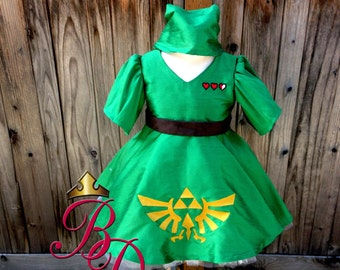 Bbeauty Baby Link Zelda Inspired  Babydoll Style Dress AGES 2-5yrs