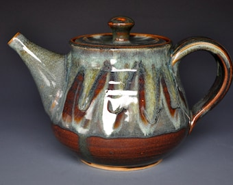 Alpine Teapot Ceramic Green River Tea pot. Pottery Stoneware A