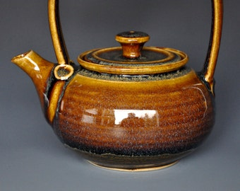 Golden Sunset Ceramic Teapot Pottery Stoneware Tea Pot A