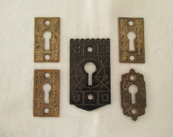Vintage Salvaged Hardware Findings Destash - Keyhole Plates - Mixed Media, Assemblage, Decor - 5 in Lot