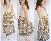 Vintage 1950s Tan and Blue Batik Print Cotton Full Pleated Skirt 26 Inch Waist