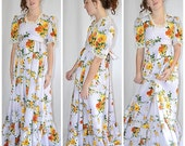 Vintage 1970s Pale Lilac Bright Floral Empire Waist Long Formal Prairie Dress Sz S