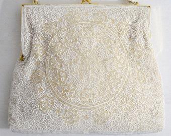 Vintage Heavily Beaded White Evening Bag With Rhinestone Frame Four Leaf Clover Design GANSON OF CALIFORNIA