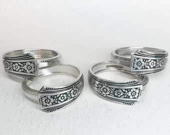Silver Napkin Rings from Vintage Spoons, Silverware Napkin Wraps - 'Fortune' 1939, Set of 4