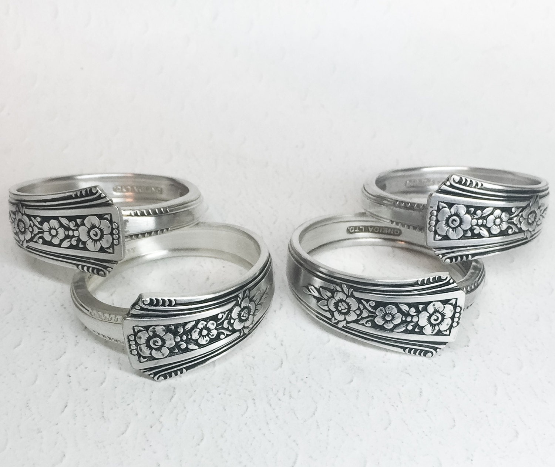 Silver Napkin Rings From Vintage Spoons Silverware Napkin