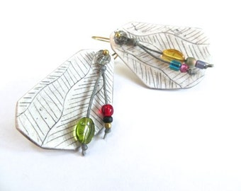 Rainbow Leaf Earrings - rustic clay, glass, gemstone