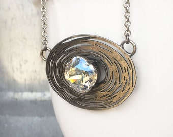 Solitaire Necklace - Bird Nest Necklace - Cushion Cut -  Crystal Necklace - Minimal Necklace - Aurora Borealis - Silver Solitaire - Mom Gift