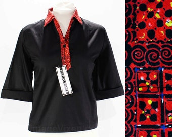 Size 14 Black Shirt - 1960s Casual Top - Polished Cotton & Red Primitive Print Collar - 60s Preppie Polo Top - Deadstock - Bust 41 - 45870