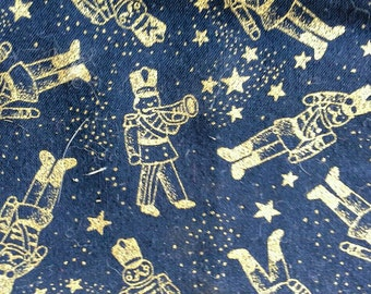 Gold Toy Soldiers on Dark Blue Cotton Fabric Christmas Novelty Print 2 Yards X0493
