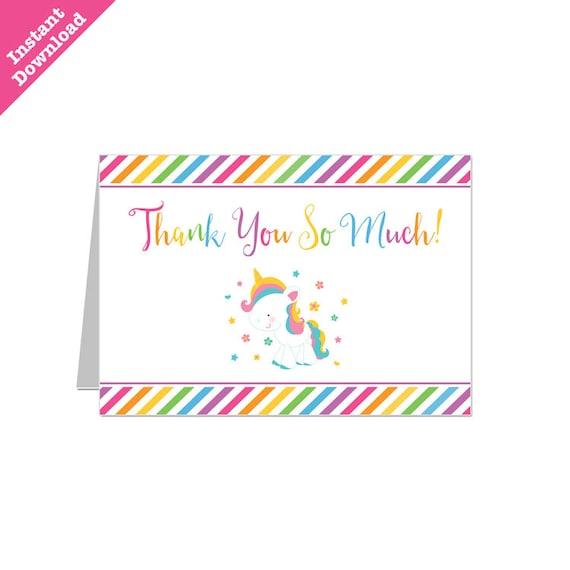 50 off sale  printable rainbow unicorn party thank you