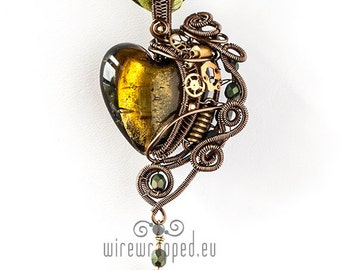 OOAK Olive green steampunk wire wrapped heart pendant