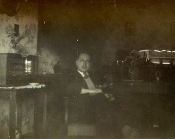 Vintage Photo - Man Sat in a Room with a Wireless Radio
