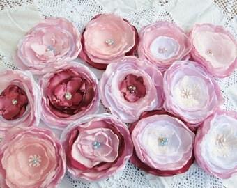 DIY  cake flowers, wedding decor, party decorations fabric flower embellishments, shabby chic fabric flowers