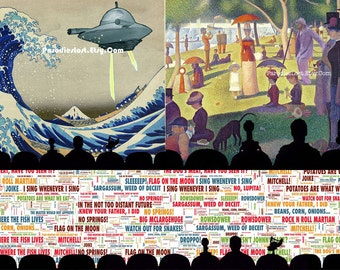MST3K Gift Set of 3 Prints Great Wave Torgo Sunday Park Prince Space Mystery Science Theater 3000 Quotes Holiday
