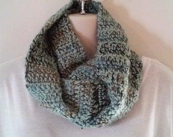 Crochet Infinity Scarf - Sea Foam Green, Brown and Tan