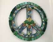 Peace Sign - Stained glass mosaic with copper on 12 inch MDF base