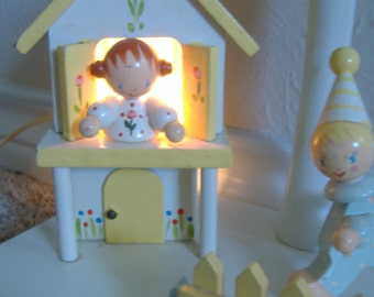 Wooden Nursery Lamp with Nightlight