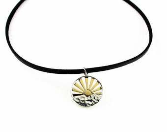 Rising Sun Choker with Sun Rays - Sterling Silver Mountain Pendant - Sunrise Pendant, Choker, Layering Necklace, Trending Chokers