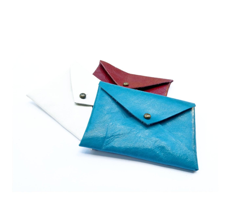 Blue business card holder, Minimal design, leather envelope wallet ...