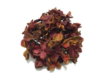 Silk Flowers - One Hydrangea Head in Burgundy Rust Red Brown Green - Artificial Flowers