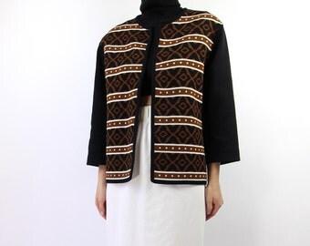VINTAGE 1960s Cardigan Knit Top Black Brown