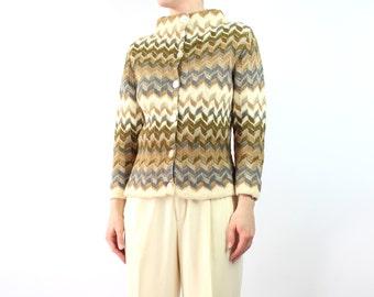 VINTAGE 1960s Cardigan High Collar Neutral Knit