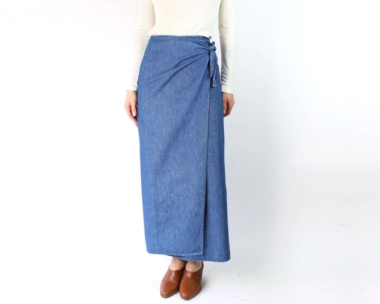 vintage denim wrap skirt 1980s ralph blue
