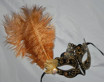 Masquerade Mask in Gold and Black with Clear Gem Accents