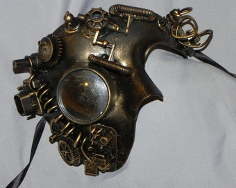 Antique Gold Phantom of the Opera Mask with Steampunk Detailing and Mirror Glass Eye - Steampunk Mask