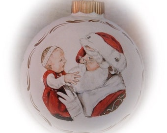Baby's First Christmas Ornament, realistic portrait painting on 4 inch glass ornaments - unique Christmas ornaments