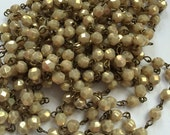 SALE NEW Handmade Linked Beaded Chain with creamy gold Luster 6mm Faceted Czech Glass Beads