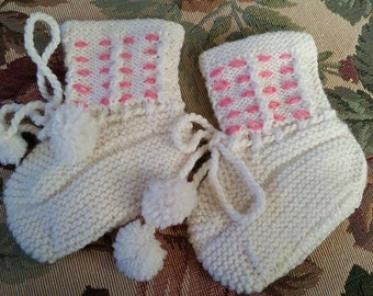 Vintage Never Worn Knit Baby Booties Hand Made Slightly Off White Pink Detail Bows and Pompoms