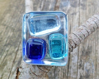 Blue Glass Ring. Handmade Ring. Adjustable Ring. Fused Glass Ring. Fused Glass Jewelry. Blue Glass And Sterling Silver Ring. Blue Glass Ring